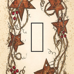 IdeaStix - Rusty Stars Single Toggle Peel and Stick Switch Plate Cover - SwitchStix transforms an ordinary switch plate into beautiful art decorations.  Made from proprietary rubber-resin, Premium SwitchStix Peel and Stick Decor offers a quick and easy solution for decorating plain switch plates.  With features like water/heat/steam-resistant, nontoxic, washable, removable and reusable, it is ideal for any room in the house or office.  SwitchStix fits standard size switch plates and applies right over the switch plate and it even covers the screw holes.  Suitable for standard size non-porous and smooth switch plates.  Discard mid-section for toggle switch placement.  Surface can be washed with most household cleaning products.