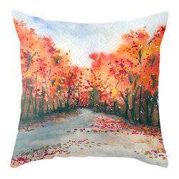 Brazen Design Studio - Decorative Pillow Cover - Autumn Journey - Landscape Throw Pillow Cushion - Fine - Liven up your space with a fine art pillow cover featuring my original artwork! This listing is for one pillow cover featuring my vibrant watercolor painting, on 100% spun designer polyester poplin fabric, a stylish statement to brighten up any room.