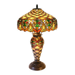 Warehouse of Tiffany - Tiffany-style Arielle Lamp - An elegant Tiffany style lamp handcrafted with 620 pieces of hand-cut stained glass wrapped in copper foil. Lamps feature a design in orange, yellow, and green. Requires two 60-watt bulbs and has a pull chain. It is 25 tall x 16 wide at the shade.