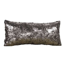 Howard Elliott Silver Fox Kidney Pillow - Change up color themes or add pop to a simple sofa or bedding display by piling up the pillows in a multitude of colors, textures and patterns. This Silver Fox Pillow features a faux fur texture with metallic finish