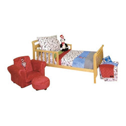 Trend Lab - Dr. Seuss Cat in the Hat 4-Piece Toddler Bedding Set - Boring bedding for your little tyke? Give him/her stuff s/he'll really like! The colorful character Cat in the Hat. It just doesn't get any better than that.