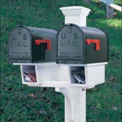 "Double Twin Star Mail Post - Perfect for multifamily units, with two newspaper boxes, 5 1/2"" sq. post. Crafted in cellular vinyl."