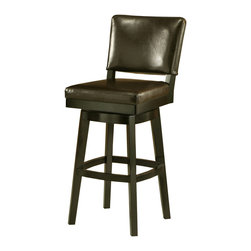 "Pastel - Richfield Swivel Barstool RC-219 - Brown - 30"" - The Richfield barstool is beautifully made with classic design elements that will add that touch of style to any room. This swivel barstool features a quality wood frame with sturdy legs and foot rest finished in Feher Black. The padded seat is upholstered in Black Leather offering comfort and style. Available in 26"" counter or 30"" bar height."