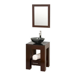 "Wyndham Collection - Wyndham Amanda Vanity 22"" Espresso - Introducing the beautiful and unique Amanda bathroom vanity. This fresh design showcases style and versatility in a slim space, with an open storage area for towels, baskets, and other toiletries, and a drawer for other accessories. It's the perfect powder room vanity."