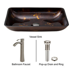 Vigo - Flat Edged White Glass Vessel Sink with Bronze Wall Mount Faucet - The VIGO Flat Edged Phoenix Stone Vessel Sink with Antique Rubbed Bronze Wall Mount Faucet will provide an elegant focal point for any bathroom.