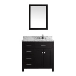 """Virtu USA - 36 Inch Transitional Single Sink Bathroom Vanity - Inspired by the Caroline, the Caroline Parkway vanity offers a clean sleek structure with abundant storage. The vanity is constructed from quality solid oak wood and finished in elegant white or espresso color. The Caroline Parkway also features an Italian Carrara white marble countertop and a matching backsplash. This vanity will be a great striking centerpiece to any bathroom design. Virtu USA has taken the initiative by changing the vanity industry and adding soft closing doors and drawers to their entire product line. By doing so, it will give their customers benefits ranging from safety, health, and the vanity's reliability. Dimensions: 36.9""""W X 21.9""""D X 35""""H (Tolerance: +/- 1/4""""); Counter Top: White Italian Carrara Marble; Finish: Espresso - (Very Dark Brown - Can Appear Black in Certain Lighting); Features: 2 Doors, 4 Drawers, 1 Interior Shelf; Soft Close Hinges; Hardware: Brushed Nickel; Sink(s): 16"""" X 13"""" X 6"""" Undermount White Ceramic Sink; Faucet: Pre-Drilled for Standard Three Hole 8"""" Center (Not Included); Assembly: Light Assembly Required; Large Cut Out in Back for Plumbing; Included: Cabinet, Sink, Mirror (23.6""""W X 31.5""""H); Not Included: Faucet, Backsplash"""