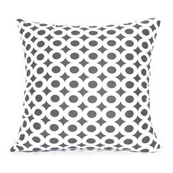 """BH Decor - Modern Gray & White Circle Sateen Throw Pillow Cover, 20""""x20"""" - (Available in 16""""x16"""", 20""""x20"""", 12""""x20"""")"""