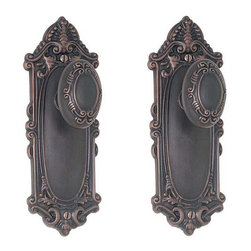 Victoria Door Knob & Plate Set - Privacy, Passage and Dummy - This exquisite interior set features intricate detailing on both the backplates and the knobs and is reminiscent of the Victorian era.
