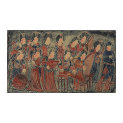 China Furniture and Arts - Tang Dynasty Wall Hanging - Ancient China reached the height of its civilization during the three hundred year period of the Tang Dynasty (618-907AD). The all-female orchestra depicted here is a reproduction of a cave painting recovered in the northwest region of China. The exuberant color shown in the cast resin reflects the aesthetic taste of the Tang period and also emphasizes music as an important part of culture. The figures are shown to be voluptuous and plump, which coincides with the ideal female figure of the Tang period. Here it is recreated by hand in cast resin as a wall-hanging for contemporary art collectors.