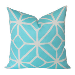 The Pillow Studio - Pool Blue Geometric Outdoor Pillow Cover with Schiumacher Trellis Design - This pillow has a bold, trellis design and great contrast between the sky blue and the crisp white. It would be great indoors or outdoors.