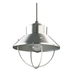 """Quorum International - Caged Pendant No. 3611 by Quorum International - Classic industrial lighting with a modern gleam. The Quorum Caged Pendant No. 3611 features a flared shade above and an open cage below the exposed light source. The entire metal structure is finished in a soft Satin Nickel, adding an element of cool luster into modern interiors.Unique products for unique customers. That's what Quorum International has been creating since 1981. From their headquarters in Fort Worth, Texas, Quorum designs ceiling fans and lighting fixtures in a wide range of styles to meet a wide range of discerning tastes. The high quality of these pieces ensures that their beauty will last for many years to come.The Quorum Caged Pendant No. 3611 is available with the following:Details:Flared metal shadeMetal supportSatin Nickel finishRound ceiling canopyTwo 8"""", 12"""" and three 16"""" downrodsUL ListedLighting:One 100 Watt 120 Volt Medium Base Incandescent lamp (not included).Shipping:This brand usually ships within 3-5 business days."""