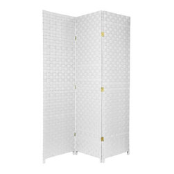Oriental Furniture - 6 ft. Tall Woven Fiber Outdoor All Weather Room Divider - 3 Panel - White - Sturdy, strong, well crafted folding screens, designed to be attractive enough for indoors, and to tolerate moisture for outdoor use. The panel frames are built from sturdy, mitered kiln dried Spruce wood, shaded with lightweight, durable cross weave vinyl ribbon. Note that these screens are equally attractive from the front or backside view.