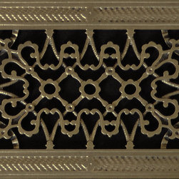 "Beaux-Artes, Ltd - Arts & Crafts style decorative grille, vent, grate or register, Antique Brass, 8 - HVAC Grille made to fit over a 6"" x 10"" duct. Beaux-Artes is the leading manufacturer of historic reproduction grilles made to replace unattractive louvered grilles, registers, vent covers, air return grilles, air return vent covers, and filter grilles found in forced air HVAC systems, as well as decorative covers for in the wall or ceiling speakers, foundation vents, radiator covers and T-Bar ceiling grilles."