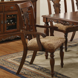 Coaster - Addison Arm Chair, Set of 2 - Introduce the right look into your master dining room with the Addison collection. The rectangular dining table features a rich cherry finish with traditional decor elements crafted from birch veneers. You and your guest will sit in total comfort with the upholstered seat cushions. Matching china cabinet features storage drawers and cabinets with felt lined top drawers.