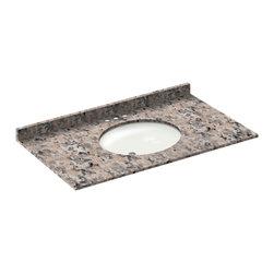 LessCare - 43x22 Burlywood Granite Vanity Countertops - 4 Faucet Spread - *Condition: New