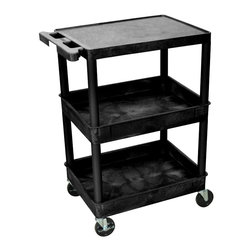 "Luxor - Luxor Tub Cart - STC211-B - These Luxor STC series utility carts are made of high density polyethylene structural foam molded plastic shelves and legs that won't stain, scratch, dent or rust. Features a retaining lip around the back and sides of flat shelves. Includes four heavy duty 4"" casters, two with brake. Has a push handle molded into the top shelf."