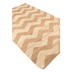Jaipur Rugs - Naturals Textured Jute Ivory/Taupe Area Rug (5 x 8) - Simple patterns in two color combinations are used to create this collection of chunky woven jute rugs. Hardy and durable these fringed rug enhance both rustic and modern home environments.