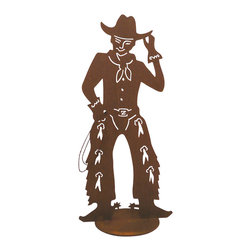 Z Garden Party - Slim The Cowboy - Slim the cowboy is a great accent for any wild west lover. He is cut from heavy rusted steel for years of enjoyment. He is designed by California artist Susan Regert and hand shaped and welded in the USA.