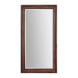 "Uttermost - Uttermost Terranova Large Mirror 13848 - Frame has a heavily distressed, rust red finish with charcoal undertones. Mirror features a generous 1 1/4"" bevel. May be hung either horizontal or vertical."