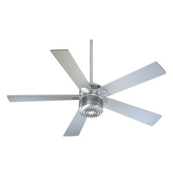 """Quorum Lighting - Quorum Lighting Telstar 52""""  Transitional Ceiling Fan X-61-525006 - Ribbed detailing creates a faux layered appearance to the cylindrical motor and frame of this Quorum Lighting ceiling fan. From the Telstar Collection, this transitional ceiling fan features updated styling with an elegant Brushed Aluminum finish and coordinating gray fan blades."""