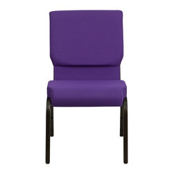 "Flash Furniture - Hercules Series 18.5"" Wide Purple Stacking Church Chair with 4.25"" Thick Seat - This Hercules Series Church Chair will add elegance and class to any Church, Hotel, Banquet Room or Conference setting. If you are looking for a chair with comfort and style that is easy to move and stores away with ease, then look no further. This built to last chair has a 16-gauge steel frame that has been tested to hold 600 lbs. This church chair features double support bracing, ganging clamps, a cushion that graduates to a 4.25 in.  thick waterfall edge and plastic floor glides to protect non-carpeted floors. Our church chair is manufactured by one of the most reputable stack chair manufacturers in the industry, you can be assured of the quality of this chair offered to you."