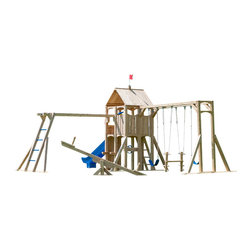 CedarWorks - CedarWorks Frolic 22 Swingset - Ear to ear grins and squeals of delight are sure to happen with Frolic 22. With a larger design and many playful options, there is plenty of room for family, friends, neighbors or anyone else you can think of who is brave enough to try the Monkey Bars, Climbing Wall and Scoop Slide. The adventure awaits!