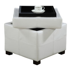 Modus Furniture International - Urban Seating Storage Cube in White Leatherette - We created the Urban Seating collection to provide stylish, affordable seating and storage options throughout the home. Great around a table, in a foyer, a game room or a den, chairs are engineered for easy assembly using durable 9 bolt grooved corner block construction and feature web seat cushions for extra comfort. Storage cubes and benches ship fully assembled and feature padded tops, upholstered interiors and built-in wood serving trays. The cubes and benches are a smart accent to any room of the house and are great for storing bed linens, shoes, toys, magazines, gaming accessories and other household clutter. All Urban Seating products are available in a supple leatherette that's durable, stylish and easy to clean.