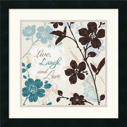Amanti Art - Botanical Touch Quote II Framed Print by Lisa Audit - \'Live, Laugh, and Love\'