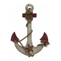"Wood Rope Anchor Decor 78740 - Wood Rope Anchor Decor features natural wood anchor with red accents, rope and starfish embellishment. 17"" w x 24"" H"