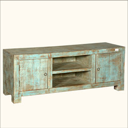 Contemporary Style Rustic Reclaimed Wood Green TV Media Console Cabinet - Form and Function define our Contemporary Style Rustic Reclaimed Wood Green TV Media Console Cabinet. We maximize your storage options with two closed side cabinets and a large two shelf open center section.