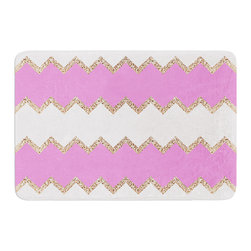 "KESS InHouse - Monika Strigel ""Avalon Pink Chevron"" Rose White Memory Foam Bath Mat (17"" x 24"") - These super absorbent bath mats will add comfort and style to your bathroom. These memory foam mats will feel like you are in a spa every time you step out of the shower. Available in two sizes, 17"" x 24"" and 24"" x 36"", with a .5"" thickness and non skid backing, these will fit every style of bathroom. Add comfort like never before in front of your vanity, sink, bathtub, shower or even laundry room. Machine wash cold, gentle cycle, tumble dry low or lay flat to dry. Printed on single side."