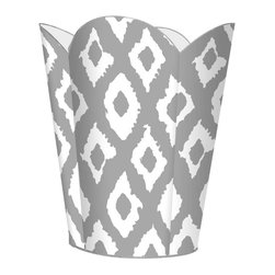 """Marye Kelley - Marye Kelley Silver Ikat Decoupage Wastebasket with Optional Tissue Box, 12"""" Flu - This is a handmade decoupage wastebasket with optional tissue box.  All items are handmade in the USA.  There are three different styles available.  There is the 12"""" Fluted Tin Design, the 11"""" Square Design with a flat top or the 11"""" Square design with a scalloped top.  Coordinating tissue boxes may also be made. Please note all items are custom made and may not be returned."""