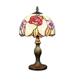 ParrotUncle - Tiffany Style Bedroom Table Lamps Red Rose - The most attractive features of Tiffany style lamps are the essence of craftsmanship and its creative design. With a sturdy resin base and a fabulous lampshade made of multicolored stained-glass in lovely flower pattern, this Tiffany table lamp will sure bring a warm and pleasant atmosphere to your home or office.
