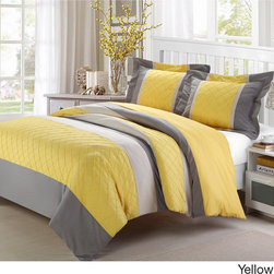 Chic - Marlene 3-piece Duvet Cover Set - The Marlene 3-piece duvet cover set features an unique patchwork pin tuck design. The color-blocking technique creates a decorative look with simple details. Available in your choice of color,the set includes two shams to complete the look.