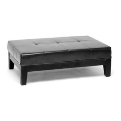 Baxton Studio - Baxton Studio Black Large Full Leather Cocktail Ottoman - This bench ottoman is a versatile piece useful in any room of your home. This elegant ottoman provides styles which allows you,match your existing leather sofa set.  Frame built to last with sturdy construction consisting of kiln dried hardwood frame, with high density foam padding.  Durable polyurethane coated leather upholstery for longer lasting use and stain resists for easy clean up.  Leg constructed with solid rubber wood with veneer finish completes with elegant smooth, clean lines design.  This Ottoman offers up the perfect way to sit back and relax.  The perfect combination of quality craftsmanship with simple and sophisticated designs, that will instantly enhance any room decor.