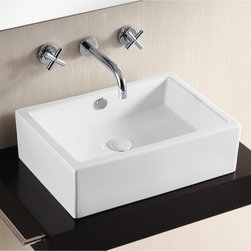 Caracalla - Rectangular White Ceramic Vessel Bathroom Sink - Contemporary style, rectangular white ceramic vessel bathroom Sink. Stylish above counter washbasin comes with overflow and no hole. Made in Italy by Caracalla. Made out of white ceramic. Contemporary design. With overflow. Standard drain size of 1.25 inches.