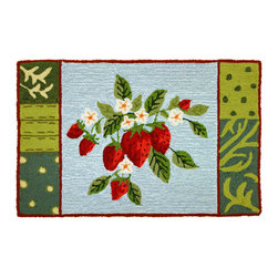 Homefires - Blooming Berries Rug - What is better than the taste of strawberries fresh from the field? Enjoying them year round of course! Bring the brightness of fresh summer strawberries to your living areas with a vibrant, wool look-alike, machine washable area rug. Your inner foodie will thank you.