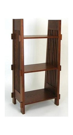 Wayborn - Book Stand w 3 Shelves - The compact size of this handsome flat-sided bookstand makes it ideal for so many spaces.  Open-top three-shelf design is finely crafted from wood in authentic Mission style with slatted ends and geometric wood accents.  Perfect for students and home office. Made from Birchwood. Smooth finish. 21 in. W x 14 in. D x 44 in. H (28 lbs.)