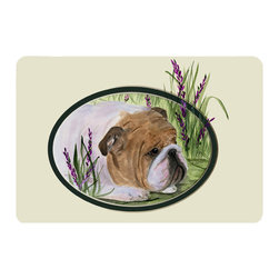 Caroline's Treasures - English Bulldog Kitchen or Bath Mat 20 x 30 - Kitchen or Bath Comfort Floor Mat This mat is 20 inch by 30 inch. Comfort Mat / Carpet / Rug that is Made and Printed in the USA. A foam cushion is attached to the bottom of the mat for comfort when standing. The mat has been permanently dyed for moderate traffic. Durable and fade resistant. The back of the mat is rubber backed to keep the mat from slipping on a smooth floor. Use pressure and water from garden hose or power washer to clean the mat. Vacuuming only with the hard wood floor setting, as to not pull up the knap of the felt. Avoid soap or cleaner that produces suds when cleaning. It will be difficult to get the suds out of the mat.