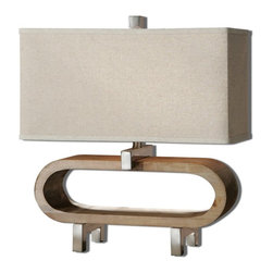 Silver Nest - Tia Table Lamp - Lightly stained wood base accented with polished chrome plated details. The rectangle shade is an oatmeal linen fabric. Maximum Wattage 60. 2 Bulbs.