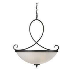 Z-Lite - Z-Lite 603P Arshe 3 Light Bowl Shaped Pendant - The unique cafe bronze fixture uses weaving circular designs to create a one of a kind, modern look. A white watermark shade compliments this pendant, and helps to create a totally unique statement in contemporary lighting, perfect for any modern space.Features: