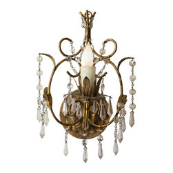 """Aidan Gray - Aidan Gray Lighting Victorian Wall Sconce Set of 2 - Classic and distinctive, the Aidan Gray collection brings to life a passion for all things time worn. The Victorian wall sconce exudes opulent elegance for the transitional hallway or bedroom. Rising from a circular backplate rich with warm detailing, the one-light fixture features delicate, curving embellishments and gorgeous dangling crystals for beautiful, lasting appeal. 8.5""""W x 8.5""""D x 12.5""""H."""
