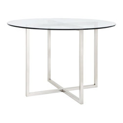 CBD Dining Table - Dress up your living room with the urban sophistication of a CBD glass side table. There's an immediate attraction to the architectural simplicity in its design, and of all the other tables in the CBD range. A hand-welded, square-section metal frame supports a thick-cut tempered glass top with a polished edge, creating a console, which is a striking example of geometric symmetry.