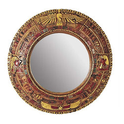 """EttansPalace - 44.5"""" Classic Egyptian Collectible Mirror Hieroglyph Wall Sculpture Decor - This nearly four-foot-diameter mirror sculpture will impress guests with its massive scale, which is based on great Egyptian architecture. Ringed with hieroglyphs and images of ancient Egypt, it is expertly hand-painted. Mirrors were highly prized by Egyptians and only wealthy, upper-class members of their society had access to such luxury items. This large-scale, display-quality indoor wall sculpture transforms any home bar, entertainment area or recreation room into something truly magnificent!"""