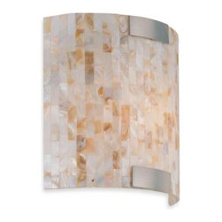 Lite Source - Schale Wall Sconce - This contemporary wall sconce features an artistically crafted shell mosaic shade that sheds soft light on your walls. The metal frame and canopy are polished steel.