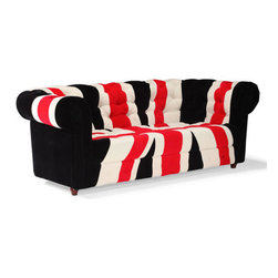 Red, White & Black Union Jack Sofa - This red, white and black sofa by Zuo Modern has an wood frame finish and is from their Union Jack collection. It's the perfect sofa to compliment any living room!