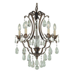Murray Feiss - Murray Feiss Maison de Ville Traditional Mini Chandelier X-BRB5/2881F - This Murray Feiss mini chandelier, or chandelette, is the perfect size for smaller spaces whether it be a breakfast nook or a walk-in closet. From the Maison de Ville Collection, it features European inspired elegance and plenty of flair thanks to the crystal accents and candelabra style lights. It also features a warm toned British Bronze finish that adds to the romantic appeal.