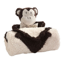 Snuggle Monkey Blanket - Handmade snuggle buddie enveloped in a super soft blanket. The buddie and the blanket are not attached, so your little one can snuggle with both or just one. Great gift idea!