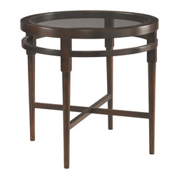 Sherrill Occasional - Sherrill Occasional Round Lamp Table 356-930 - Round lamp table with inset glass to provide a sense of airiness.Cross stretcher base for added design integrity.