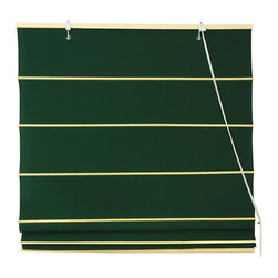Oriental Unlimited - Cotton Roman Shades in Dark Green (48 in. Wide) - Size: 48 in. Wide. Warm and inviting with a casual style, this durable Roman shade is a classic window treatment that will easily showcase your timeless design style. Finished in dark green, the shade has natural ribs for added visual interest and is available in a selection of different sizes. These Dark Green colored Roman Shades combine the beauty of fabric with the ease and practicality of traditional blinds. Made of 100% cotton. Easy to hang and operate. 24 in. W x 72 in. H. 36 in. W x 72 in. H. 48 in. W x 72 in. H. 60 in. W x 72 in. H. 72 in. W x 72 in. H